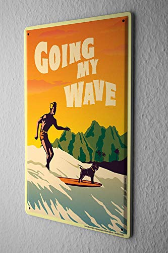 - Nostalgic Wall Plate Surfer On Surfboard with A Dog Surfer Aluminum Sign for Garage Easy to Mount Indoor & Outdoor Use Metal Sign