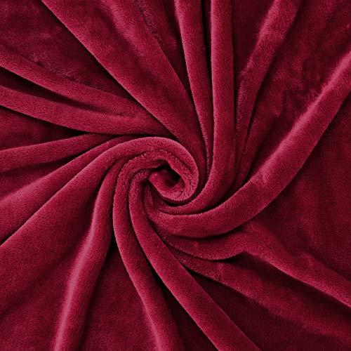 "Exclusivo Mezcla Flannel Fleece Velvet Plush Soft Throw Blanket – 50"" x 60"" (Burgundy Red)"