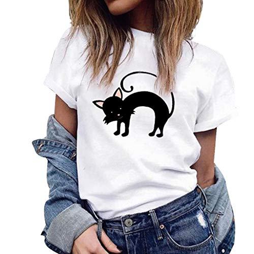 minjiSF QUTE Black Kitty Tee for Women Print Casual Loose Blouse Short Sleeve T-Shirt Summer Shirt Tops Plus Size -