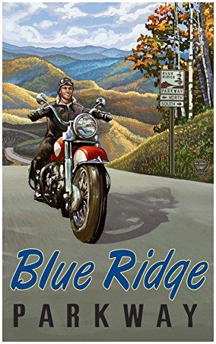 Blue Ridge Parkway Motorcycle Travel Art Print Poster by Pau