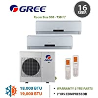 +Multi Zone 18,000 BTU 1.5 Ton Ductless Mini Split Air Conditioner with Heat, Inverter, Remote - 208-230V/60Hz