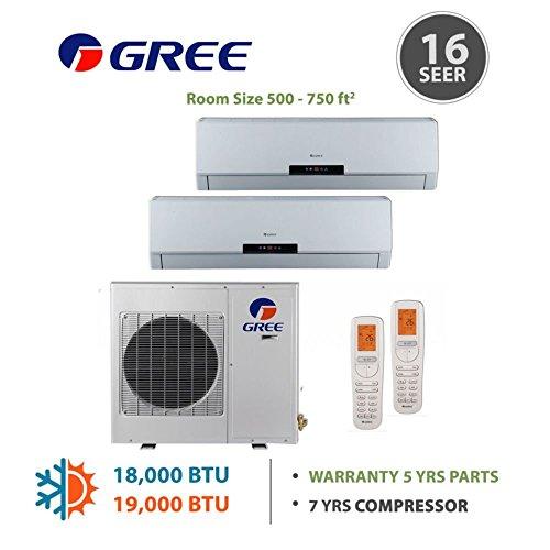 +Multi Zone 18,000 BTU 1.5 Ton Ductless Mini Split Air Conditioner with Heat, Inverter, Remote - 208-230V/60Hz
