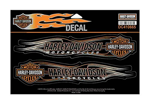 Harley-Davidson Bar & Shield Flames Foil Decal, 2 X-Large Size Stickers DC410665