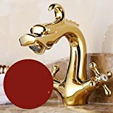 AWXJX Washroom Sink Mixer Tap copper European style Hot and cold Sit Double handle Single hole Wash basin ceramics Lengthen Gold