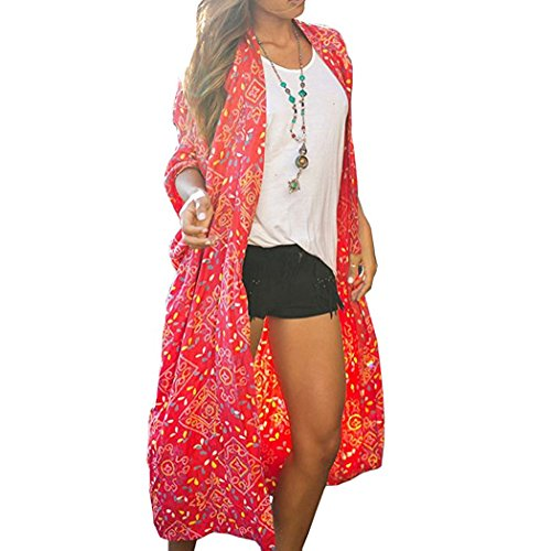 BOSSAND Women's Sheer Chiffon Blouse Loose Tops Kimono Floral Print Cardigan Cover Ups (Small, N 17)