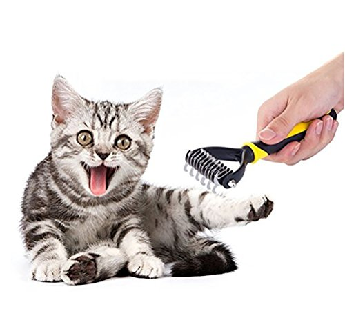 DAN Pet Dematting Comb Grooming Undercoat Rake, TPE + PP,2 Sided Undercoat Rake For Cats & Dogs by DAN (Image #5)