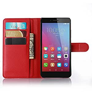 Huawei Honor 5X Case, Ultra Slim Stand Flip Wallet Case with Built-in Card Slots, Vikoo Premium PU Leather Wallet Cover Case for Huawei Honor 5X Smartphone(Red)