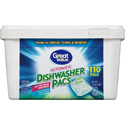 Great Value Automatic Fresh Scent Dishwasher Pacs, 110 count, 66 oz