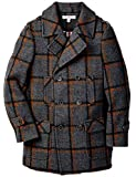 Isaac Mizrahi Boy's CT1018 Multi Plaid Color Double Breasted Pea Coat - Charcoal - 6