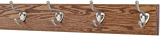 "product image for PegandRail Solid Oak Wall Mounted Coat Rack with Satin Nickel Hat and Coat Style Coat Hooks - Made in The USA (Chestnut, 3.5"" x 20"" with 4 Hooks)"