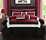 Black and Tan Comforter Sets King Chic Home Duke Pieced Color Block Bed in A Bag Comforter Set, King, Red