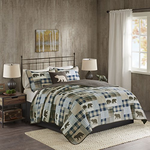 Twin Falls Oversized 4 Piece Quilt Set Brown/Blue King/Cal King - Echo Bed Ensemble