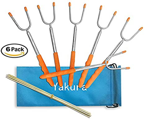Marshmallow Roasting Sticks, Telescoping Smores Sticks Skewers for BBQ Hot Dog Fork 45 Inch Patio Fire Pit Camping Cookware Campfire Cooking Utensil for Kids Adult Party Accessories (Pack of (Two Dogs Designs Fire Pit Cover)