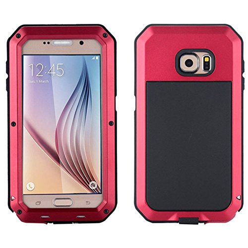 Galaxy S6 Case, Tomplus Waterproof Shockproof Aluminum Gorilla Glass Metal Case Cover For Samsung Galaxy S6 G9200 (red)