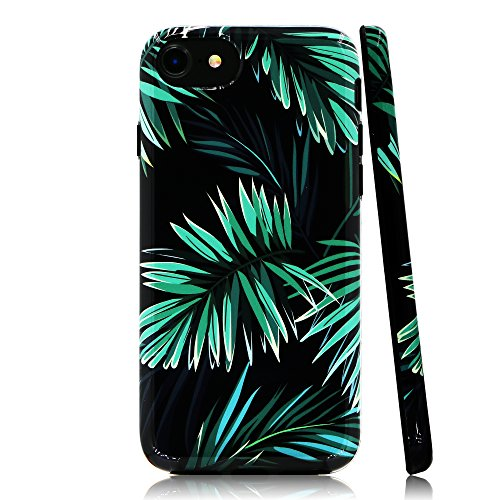 Lartin Tropical Jungle Plants Green Phoenix Leaves Soft Flexible Jellybean Gel TPU Case for iPhone 8/iPhone 7/iPhone 6S/iPhone 6 ()