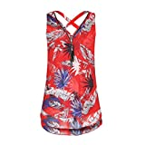 BCDshop Women Sleeveless Tank Top Lady Casual Shirt Fashion Summer Camis Blouse (Red A, M)