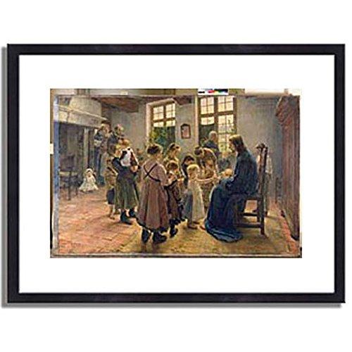 フリッツフォンウーデ Uhde, Fritz von「Let the Children Come to Me. 1884」インテリア アート 絵画 プリント 額装作品 フレーム:木製(黒) サイズ:S (221mm X 272mm) B00LREDKSC 1.S (221mm X 272mm)|3.フレーム:木製(黒) 3.フレーム:木製(黒) 1.S (221mm X 272mm)