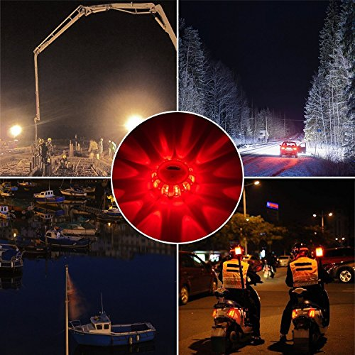 3-Pack Yandu LED Road Flares Emergency Beacon Safety Flare Flashing Warning Light for Car Truck Boat with Hook and Magnetic Base 3 PACK
