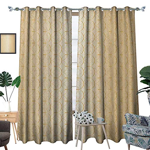 Warm Family Beige Patterned Drape for Glass Door Golden Linked Circle and Diamond Shape Motifs Geometric Abstract Contemporary Pattern Print Waterproof Window Curtain W96 x L84 Gold