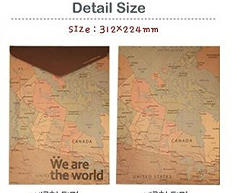 Eshop Creative Retro Style Map Design A4 Document Bag +Eshop Cable Tie