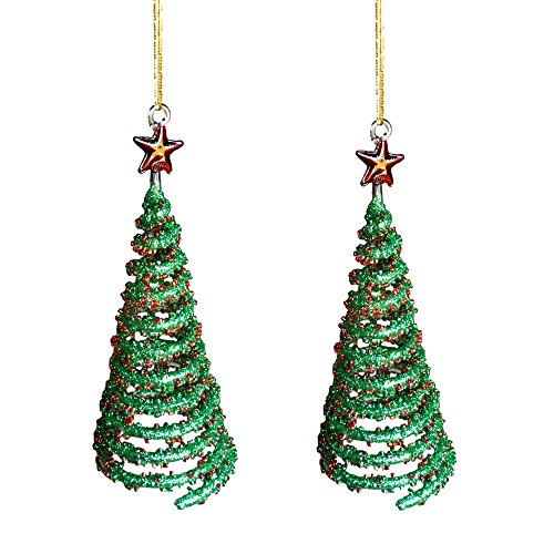 BANBERRY DESIGNS Red and Green Christmas Tree Ornaments - Set of 2 Spun Glass Trees with Glitter and Stars - Gift Boxed