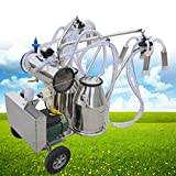 Vinmax (Shipping from US) Portable Double Tank Milker Electric Vacuum Pump Milking Machine For Cows Farm