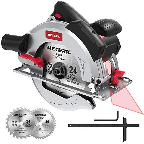 "Circular Saw 1800w, Meterk 15Amp 7-1/2"" Circular Saw with Laser Guide, 4700RPM with 2 Pcs Cutting Blades 24T+40T plus 1 Hex Wrench, Max Cutting Depth 67mm (90°) and 45mm (45°)"