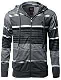 Basic Stripe Zip up Hoodie with Kangaroo Pocket Charcoal White Black 2XL Size