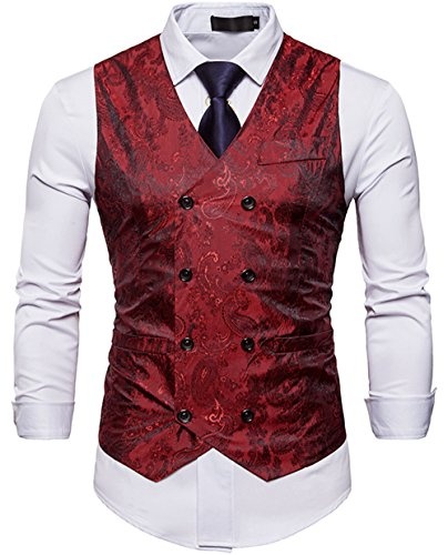 WANNEW Mens Suit Vest Waistcoat Business Dress Vests Paisley Vest for Suit or Tuxedo (Burgundy, M)