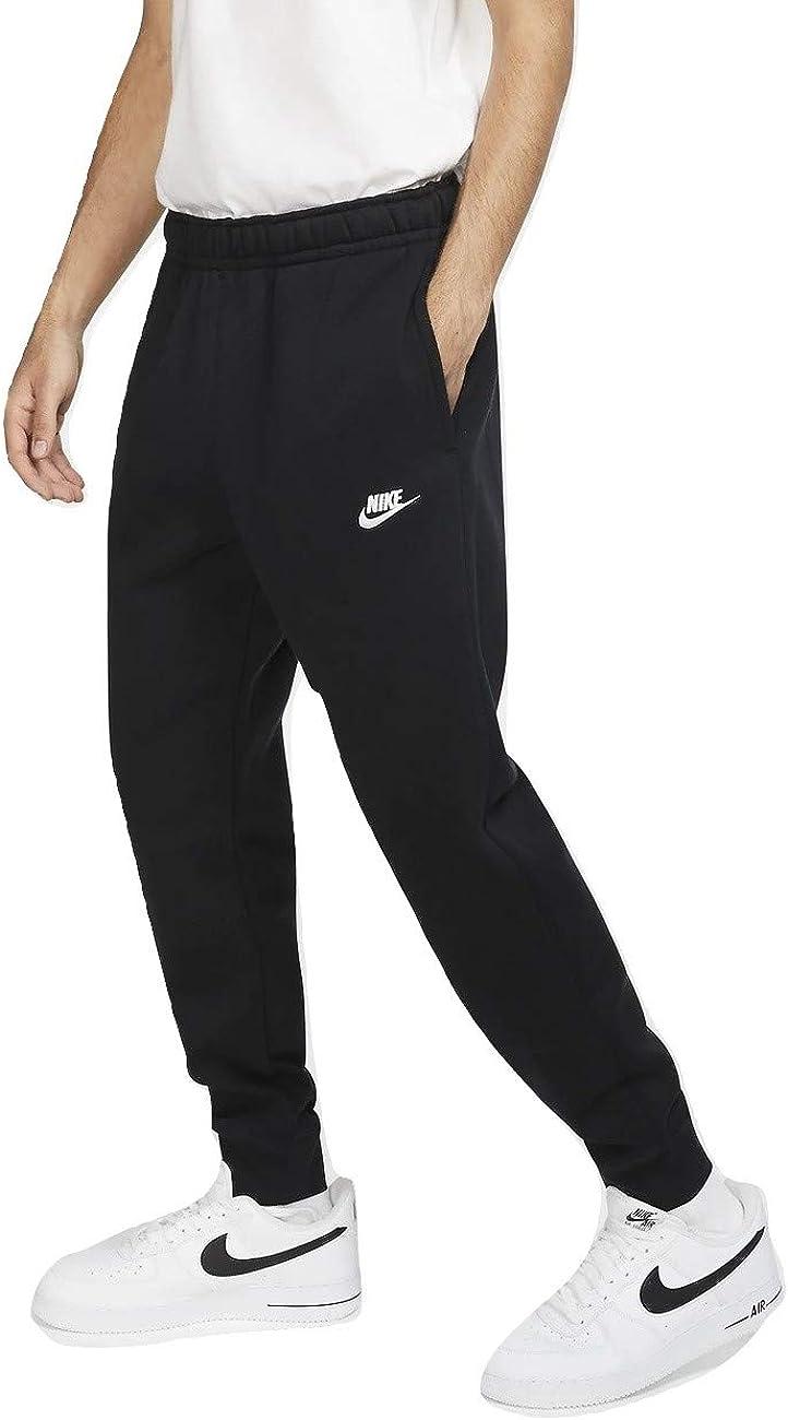 Nike Mens Fleece Tapered Club Swoosh Sweatpants Black/Silver XX-Large