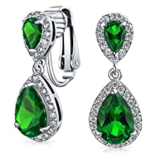 Bling Jewelry Crown Set Simulated Emerald CZ Double Teardrop Bridal Clip On Earrings Rhodium Plated Brass
