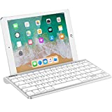 Nulaxy KM13 Wireless Bluetooth Keyboard with Sliding Stand Compatible with Apple iPad iPhone Samsung Android Windows Tablets Phones Keyboard - Silver