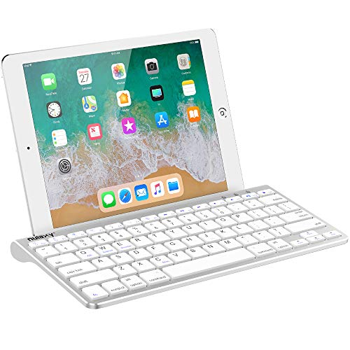 Nulaxy KM13 Wireless Bluetooth Keyboard with Sliding Stand Compatible with Apple iPad iPhone Samsung Android Windows Tablets Phones Keyboard - Silver (Iphone 7 Plus Touch Screen Not Working Properly)