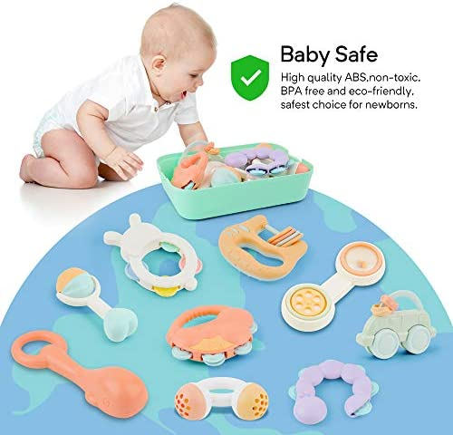 51O0VuhuiLL. AC Gizmovine 10pcs Baby Toys Rattles Set, Infant Grasping Grab Toys, Spin Shaking Bell Musical Toy Set Early Educational Toys with Storage Box for Toddler Newborn Baby 3, 6, 9, 12 Month    Product Description