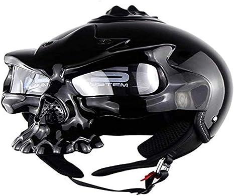 ZHXH Teen Motorrad Offroad Helm Harley Retro Devil Gesichtsmaske Pers/önlichkeit Knochentyp Halbhelm Punkt Zertifizierung Erlaubt m, L, Xl