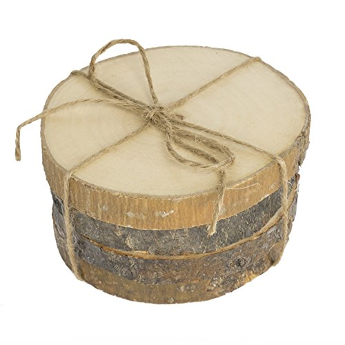 brightmaison Natural Wood Coaster Set 4 pcs with Tree Bark Wooden Coasters Each Measures About 3.5 inches in Diameter