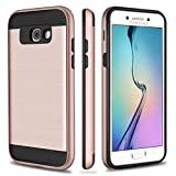 Galaxy A5 Case, SAMONPOW Slim Fit Hybrid Shock Absorption Brushed Texture Hard Defender Rugged Soft Rubber Bumper Impact Resistant Drop Protection Case for Samsung Galaxy A5 (2017) - Rose Gold