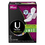 U by Kotex CleanWear Ultra Thin Pads with Wings, Heavy Flow, Fragrance-Free, 3 Packs of 32 (96 Total)