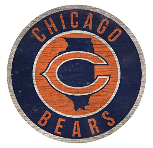 Fan Creations Chicago Bears Wood Sign 12 Inch Round State -