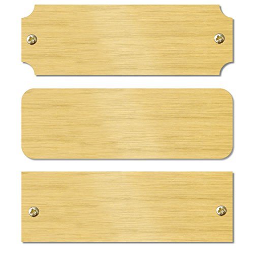 (Solid Brass Satin Lacquered Perpetual Plaque Blank Tag Square, Notched or Round Corners with Matching Screws 1