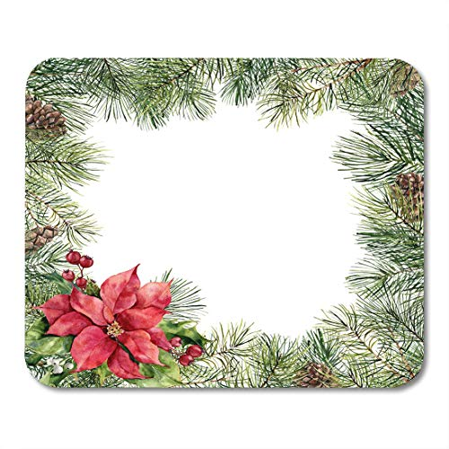 - Nakamela Mouse Pads Watercolor Christmas Floral with Poinsettia Hand Tree Branch Pine Cone Holly Mistletoe and Barry White Mouse mats 9.5