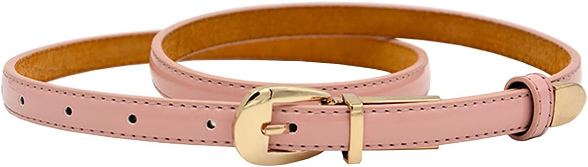 Patent Leather Western Belt Dress Slim Skinny Belt with Buckle for Ladies