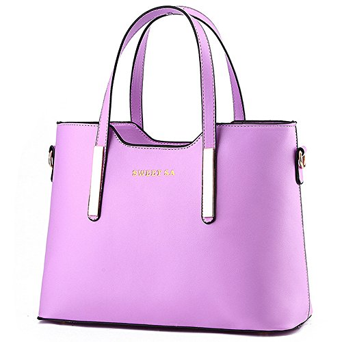 for Bag PU Women Leather Bags Handbag Handle Shoulder Tote Purple xnOtpn8W
