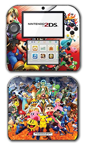 Super Smash Bros Melee Brawl Mario Pikachu Yoshi Mega Man Zelda Sonic Metroid Fire Emblem Video Game Vinyl Decal Skin Sticker Cover for Nintendo 2DS System Console (Smash Super Bros Decal)