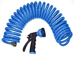 2 Pack - Orbit Blue 25\' Coil Watering Hose with Spray Nozzle ,Coil Garden Hoses - 27890