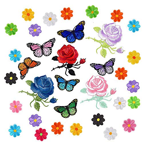 Budicool Flowers Butterfly Iron on Patches Embroidery Applique Patches for Arts Crafts DIY Decor, Jeans, Jackets, Clothing, Bags (Pack of 34pieces)