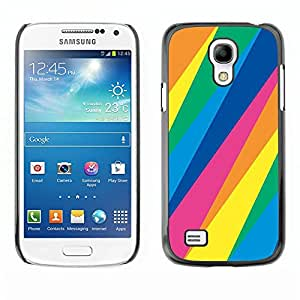 LECELL--Funda protectora / Cubierta / Piel For Samsung Galaxy S4 Mini i9190 MINI VERSION! -- Lines Pattern Blue Green Yellow Pink --