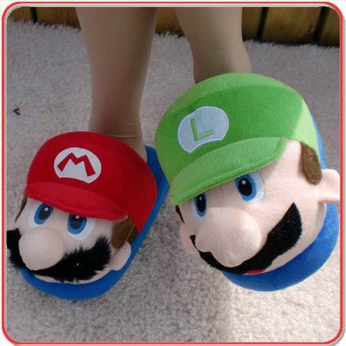 (Adult) Super MARIO & LUIGI Plush Slipper One Size Fits All for Adult Feet up to 11