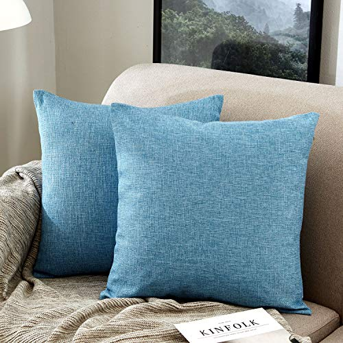 Blue Cushion Cover Cotton - MERNETTE Pack of 2, Cotton Linen Blend Decorative Square Throw Pillow Cover Cushion Covers Pillowcase, Home Decor Decorations for Sofa Couch Bed Chair 18x18 Inch/45x45 cm (Blue)