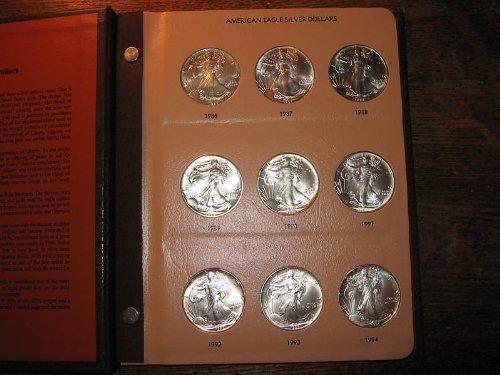 1 P 1986-2019 Silver Eagle Complete 33 Coin Set in Dansco Album Uncirculated
